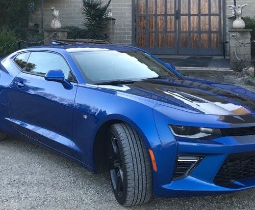 10625  Alquiler Chevrolet Camaro azul fron lat For rent Prop Action Picture Vehicles in Spain España Barcelona Madrid