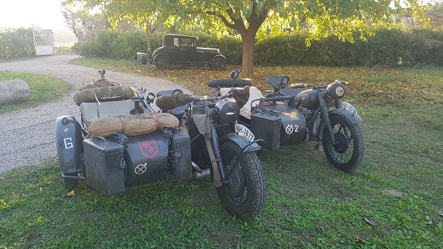 making of vehículos de escena rodaje picasso genius natgeo alquiler coches de epoca historicos  para peliculas tyreaction motos bmw nazis sidecar