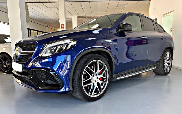 PM012 Alquiler Mercedes GLE G3S azul lateral Madrid