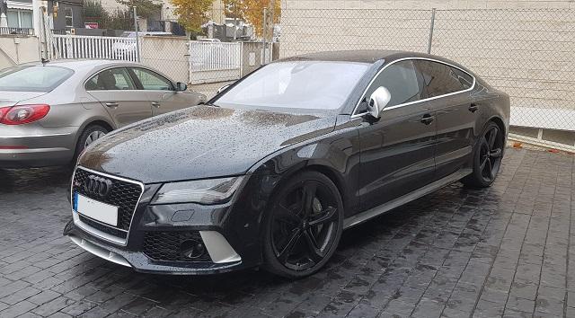 pm012 alquiler coche de lujo audi a7 rs7 madrid tyreaction vehículos de escena negro front