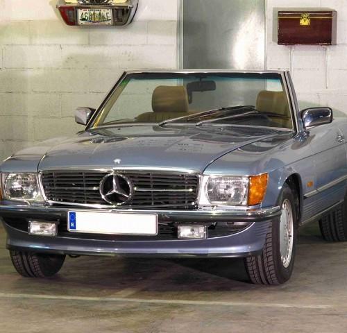 p0050 alquiler Mercedes 300 SL descapotable azul front
